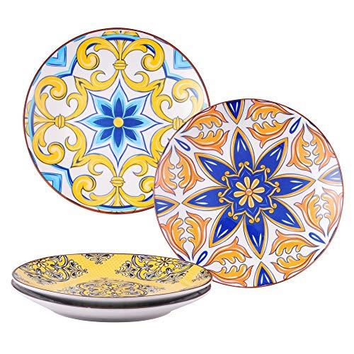 Dessertteller Porzellan, vancasso 4 teilige JASMIN Kuchenteller Ø 21 cm, Essgeschirr Flachteller für Frühstück, Aladin Serie