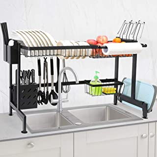 CHASSTOO Over The Sink Dish Drying Rack, Above Sink Kitchen Drain Drainage Rack, Stainless Steel Oversink Decor Dish Drainer Dishrack (Sink Size = 32.9 inch, Anti-Scratch Matte Black)