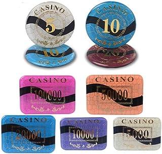 MMingx- ビンゴチップス 10個入り/セットアクリルポーカーチップテキサスホールデムポーカーチップラウンド/長方形ドラゴン値カジノコインポーカー (Color : 50 000)