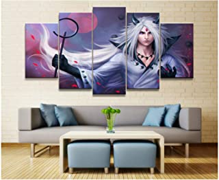 Junewind Canvas Painting 5 Panel Canvas Printed Naruto Uchiha Madara Animation Poster Home Decor for Living Room Picture Wall Art Painting Modern Artwork-SIZE2