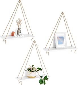 Mkono Wood Hanging Shelves for Wall Boho Decor Swing Rope Rustic Floating Shelf , Set of 3 Wall Display Shelving Home Organizer Rack for Living Room Bedroom Bathroom Kitchen,White