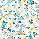 Krokodil Blau Grün 100% Baumwolle Baumwollstoff Kinder