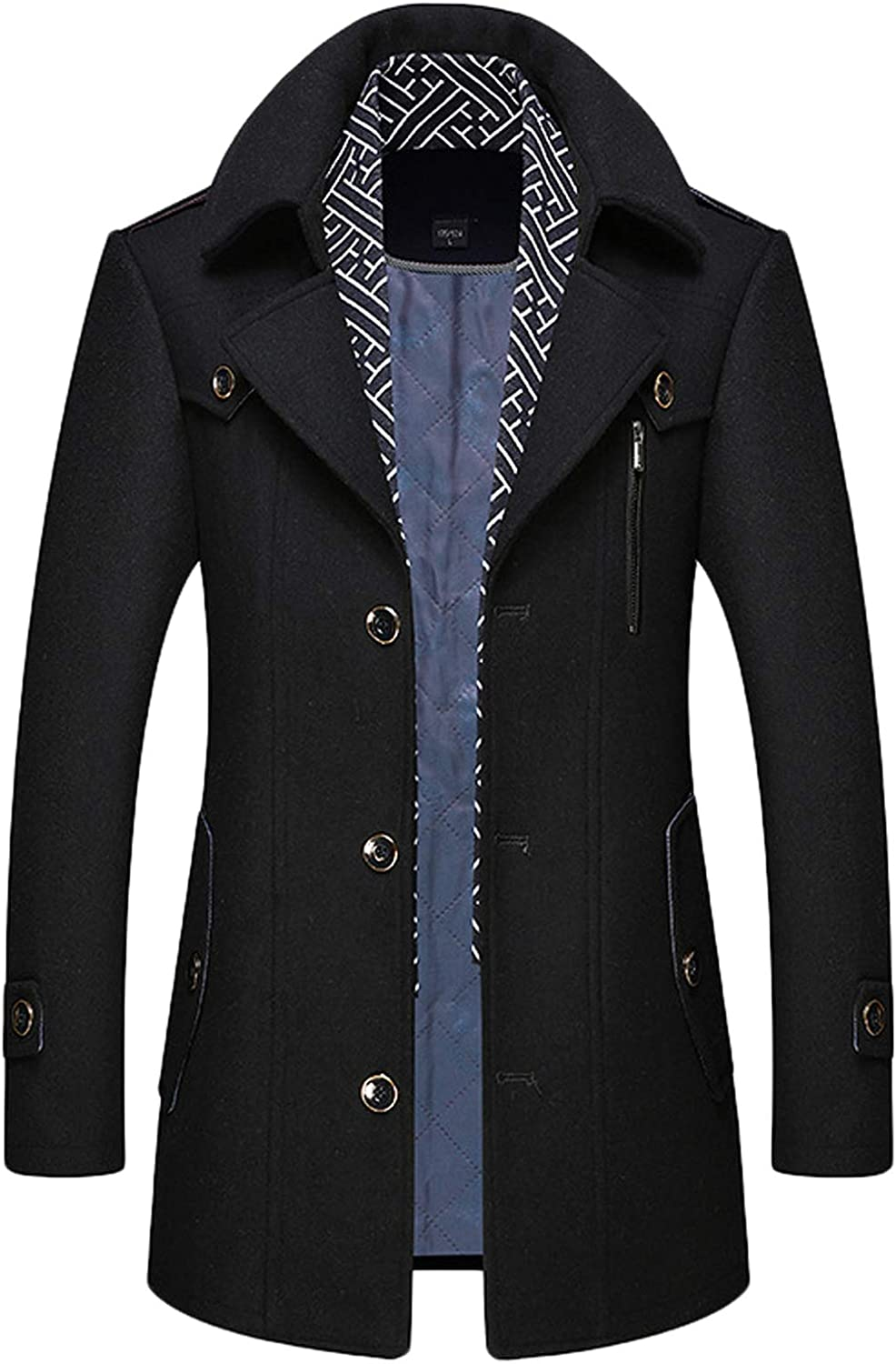 Youhan Men's Scarf Thick Winter Jacket Wool Blend Pea Coat