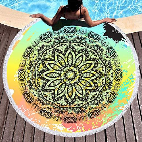 Strandhanddoek van microvezel, rond, met eiken-print, geometrische mandala, yogamat voor picknick