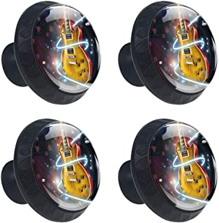 4 Pieces Drawer Knob Pull Handle Guitar and Picks Music Crystal Glass Circle Shape Cabinet Drawer Pulls Cupboard Knobs with Screws for Home Office Cabinet Cupboard