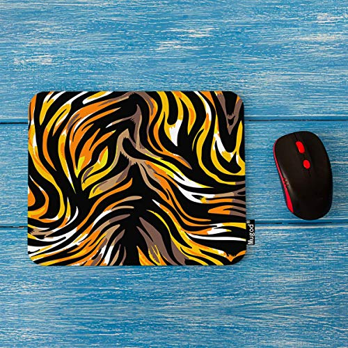 Mugod Tiger Striped Pattern Mouse Pad Seamless Abstract Wild Exotic Animal Leopard Print Decor Gaming Mouse Pad Rectangle Non-Slip Rubber Mousepad for Computers Laptop 7.9x9.5 Inches