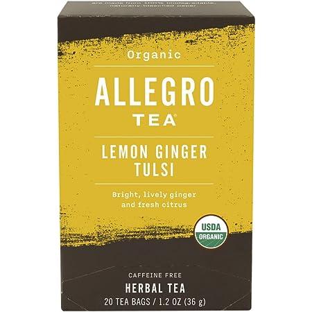 Allegro Tea, Organic Lemon Ginger Tulsi Tea Bags, 20 ct