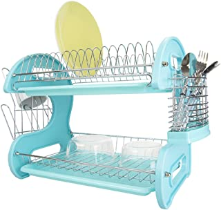 "Home Basics Plastic, 2-Tier (Turquoise) Dish Drainer, 22.2"" x 10.6"" x 13.9"""