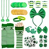 Whaline Assorted St. Patrick's Day Party Favor Set Green Irish Shamrock Clover Dressing-Up Accessories Eyeglasses Headband Green Gold Coin 72pcs Tattoo Decals Mustaches Necklace Gloves Bow Tie, 112Pcs