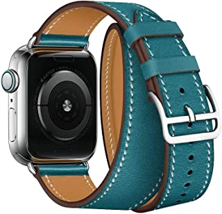 Wang for Apple Watch 3/2 / 1 Generation 42mm Universal Leather Double-Loop Strap(Black) (Color : Blue)