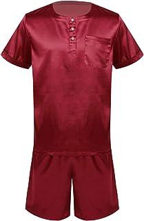 Oyolan Mens Silk Satin Nightwear 2pcs Pajamas Set Half Button Top Shirts with Loose Shorts Pants