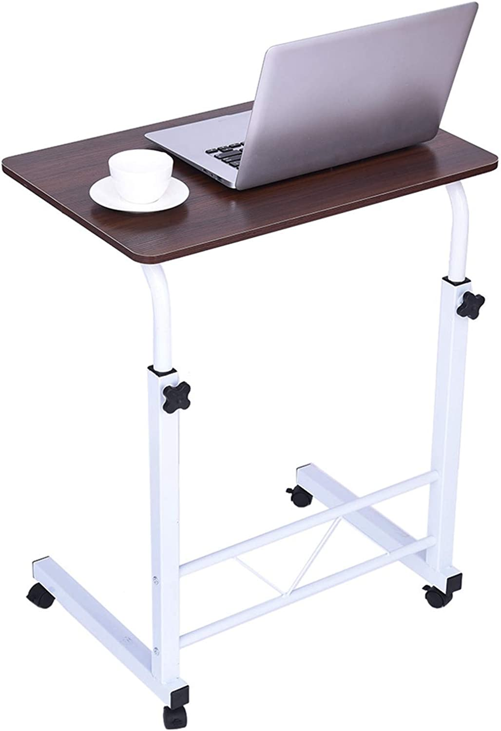 【USA in Stock 】 Computer Desk Bedside Table Couch Bed TV Dinner Tray Tables Adjustable Home Office Chair Can Be Lifted and Lowered Mobile White