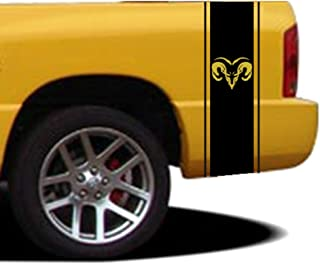 Clausen's World 10 Inch Ram Head Qty 2 Vinyl Rally Racing Stripes, Fits Dodge Ram Pickup Truck, Pink