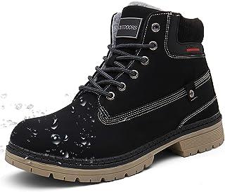 Femme Hiver Bottines Plates Lacets Bottes Homme d'hiver Chaud Fourrure Cheville Chaussures Chunky Bottines de Neige Randon...