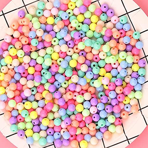 ZesNice Perline Colorate, Perline Braccialetti, Acrilico Pastello Perline per bigiotteria Fai da Te, 500 Pezzi Perline Rotonda Colorate con Cordino Elastico, 8mm