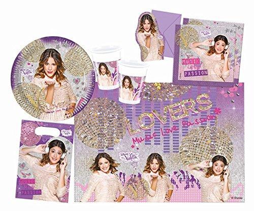 Procos 10108569B Kinderpartyset Disney Violetta Gold Edition, Größe M, 49 teilig