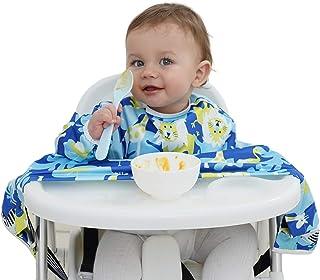 مريلة للأطفال مضادة للماء للفطام من أجل التغذية الذاتية للرضع والأطفال الصغار، مريلة واسعة للمقعد العالي للرضع، مستلزمات ا...