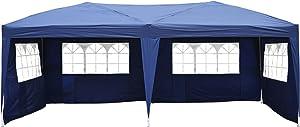 Homcom Tonnelle Tente de Reception Pliante pavillon chapiteau Barnum 3 x 6 m Bleu cotes demontables