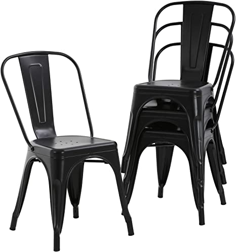Amazon Com Hcb Metal Dining Chairs Set Of 4 Indoor Outdoor Patio Chairs Stackable Kitchen Chairs With Back Restaurant Chair 330 Lbs Capacity Black Kitchen Dining