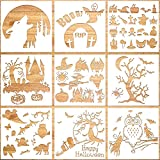 Konsait 9Pack Halloween Stencils Templates, Reusable Plastic Painting DIY Crafts Face Templates, Halloween Stencils for Geeting Card, Spraying, Scrapbook, Notebook, Journal, Face Cookie Home Decor