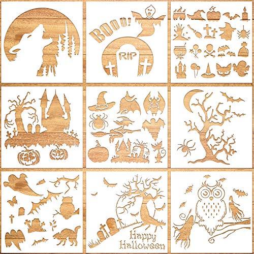 Qpout 9Pack Halloween Schablonen Set, Wiederverwendbar Kunststoff Zeichnung Malerei DIY Handwerk Schablone für Sprühen,Grußkarte, Scrapbooking, Notizbuch,Gesicht Cookie Home Decor