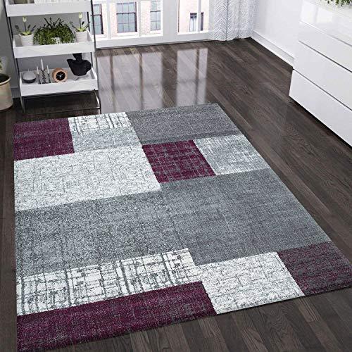 VIMODA Teppich Kurzflor in Lila Grau Weiß, Maße:80x150 cm