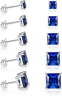 GEMSME 18K White Gold Plated Princess Cut Tapoz Sparkly Spinel Crystal Gemstone Stud Earrings Pack of 5