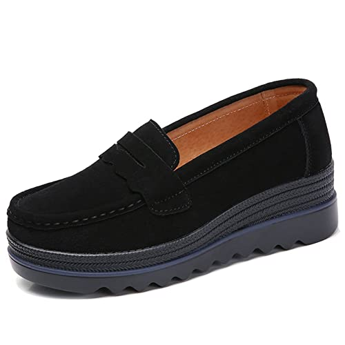 f8fe14b70a4e HKR Womens Slip On Platform Shoes Casual Suede Loafers Comfortable Wedge  Sneakers