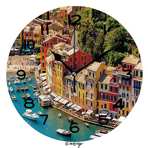 Zseeda 25cm (9.8') Redondo Reloj de Pared Silencioso No Tick Tack Ruido Reloj de Pared Luftaufnahme Von Portofino
