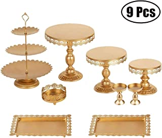 Set of 9 Pieces Iron Cake Stand and Pastry Trays Metal Cupcake Holder Fruits Dessert Display Plate for Baby Shower Christmas Wedding Birthday Party Celebration Gold