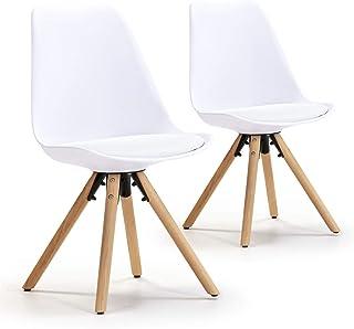 VS Venta-stock Set de 2 sillas Comedor Jeff Estilo nórdico Blanco, certificada por la SGS, 54 cm (Ancho) x 49 cm (Profundo) x 84 cm (Alto)