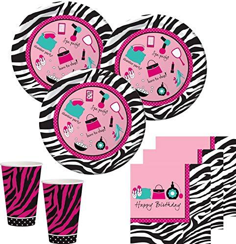 32 Teile Pink Zebra Pyjama Party Beauty Makeup Spa Party Deko Set für 8 Personen