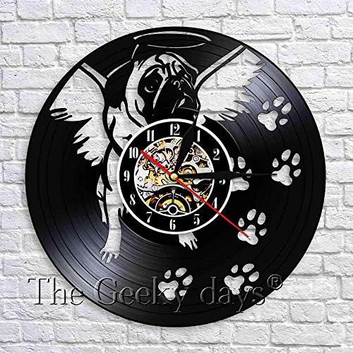 wtnhz LED-Reloj de Pared con Registro de Vinilo para Perro Pug, decoración de Cachorro de Bulldog inglés, Reloj de Cuarzo para habitación de bebé, decoración de Pared para guardería