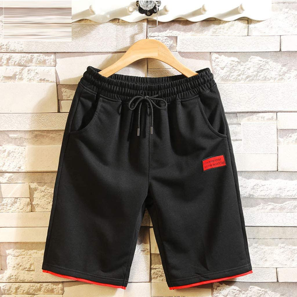 DIOMOR Mens Fashion Outdoor Shorts Casual Drawstring Elastic Waist Beach Trunks Solid Athletic 9