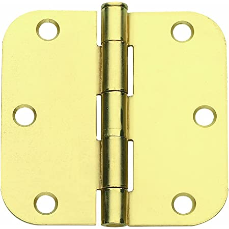 Satin Brass Plain Bearing Steel Hinge with 5//8 in x 3.5 in Radius Global Door Controls 3.5 in Set of 2 Pack of 2