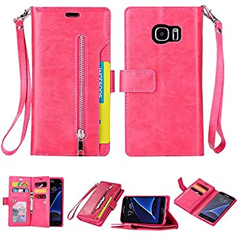Galaxy S7 Edge Case Folice Zipper Wallet Case [Magnetic Closure]& 9 Card Slots PU Leather Kickstand Wallet Cover Durable Flip Case for Samsung Galaxy S7 Edge  2016 Release   Rose RED