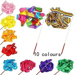 10 PCS Multi-Colored Kids Dancing Gymnastics Ribbon Wands for Kids Artistic Dancing