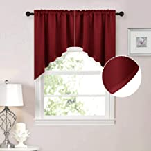 NICETOWN Blackout Kitchen Tier Curtains Tailored Scalloped Valance/Swags for Living Room (1 Set, 36 inches W X 36 inches L Each Panel, Burgundy)