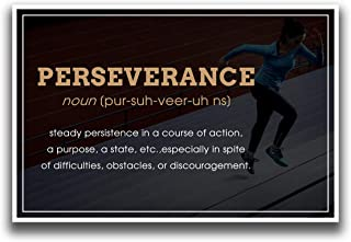 JSC522 Definition of Perseverance Dictionary Style Poster Running Stairs | 18-Inches by 12-Inches | Motivational Inspirational Educational | Premium 100lb Gloss Poster Paper