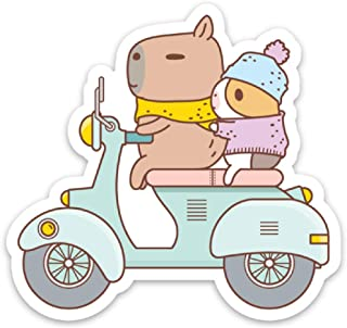 Guinea Pig and Capybara Riding Scooter Vinyl Sticker Bubu and Moonch Sticker