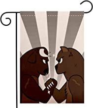 BEIVIVI Creative Home Garden Flag Cartoon Bull Bear Preparing to Fight Striped Background Wild Competition Light Grey Brown Army Green Welcome House Flag for Patio Lawn Outdoor Home Decor
