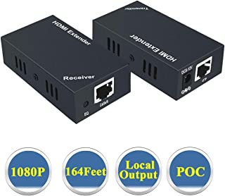 HDMI Extender 1080P@60Hz with Local Output, Over Single Cat5e/6/7 Cable Full HD Transmit Up to 164 Feet (50 Meter), Support EDID and POC Function