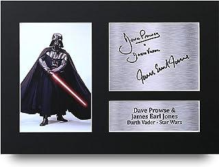 HWC Trading Star Wars Darth Vader A4 Sin Marco Regalo De Visualización De Fotos De Impresión De Imagen Impresa Autógrafo Firmado por Dave Prowse & James Earl Jones Los Aficionados Al Cine