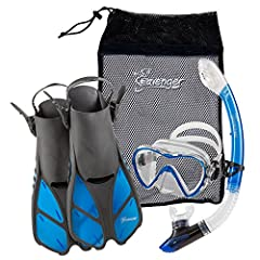 ALL AGES — XXS size available for kids and youth. EASY DRY TOP SNORKEL – Dry top splash guard and purge valve keep water out of the tube. COMPACT FINS — 16 inch short fins with open foot pocket are great for travel. PANORAMIC VIEWS – Single lens temp...