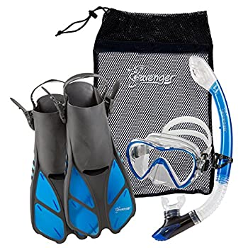 Seavenger Diving Dry Top Snorkel Set with Trek Fin Single Lens Mask and Gear Bag L/XL - Size 9 to 13 Gray/Clear Blue