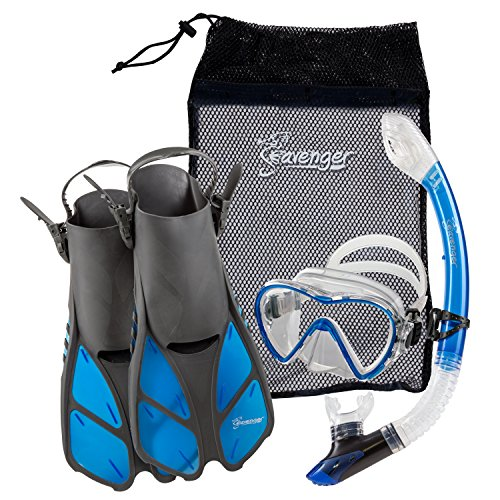 Seavenger Diving Dry Top Snorkel Set with Trek Fin, Single Lens Mask and Gear Bag, S/M - Size 4.5 to 8.5, Gray/Clear Blue