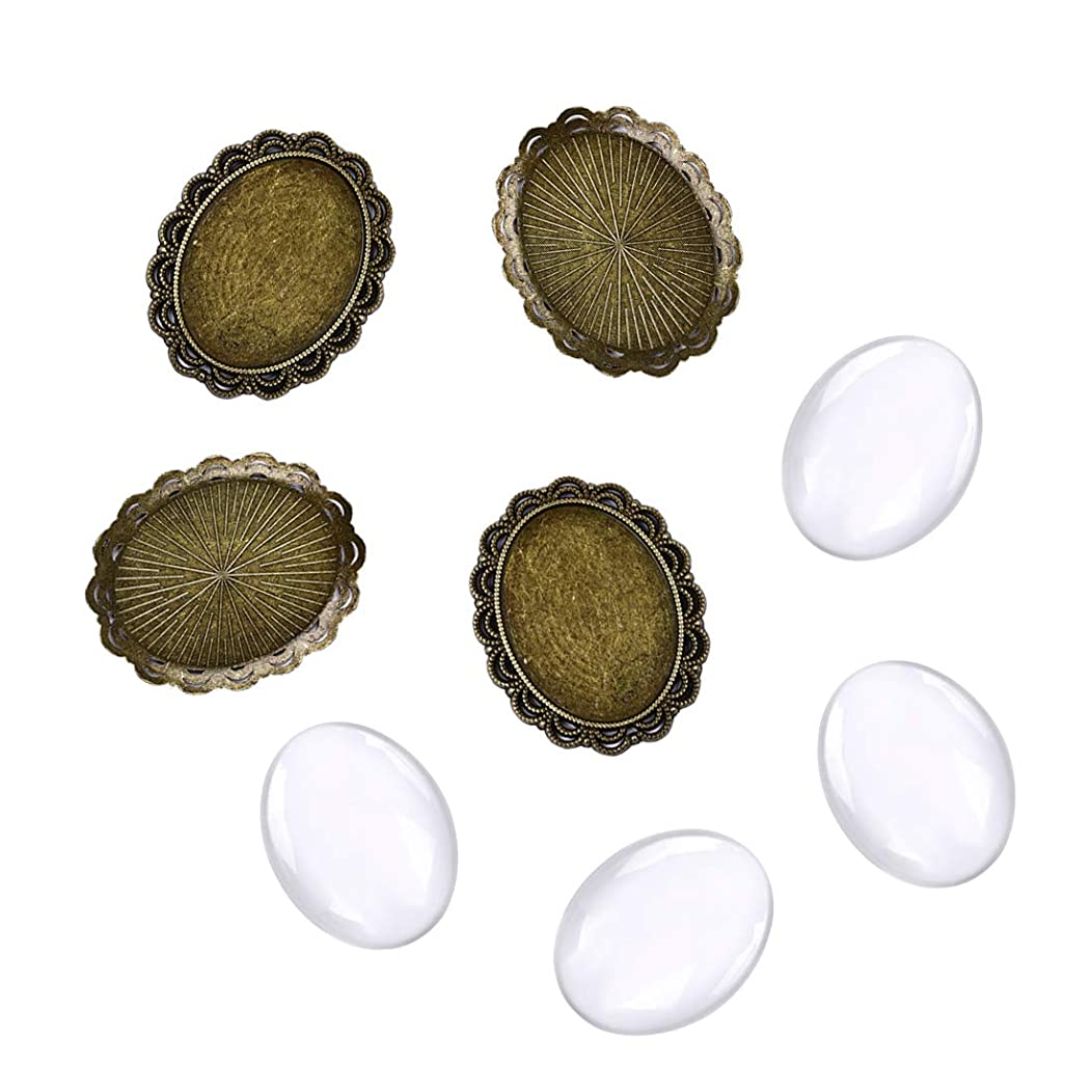10 Sets Oval Antiqued Bronze Photo Setting Bezel Tray Pendant Blank with Glass Dome Tiles Necklace Findings for DIY Jewelry Making Pendant Bezels with Glass Cabochons 30mm×40mm #2
