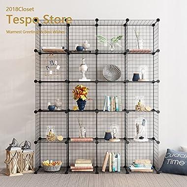 Tespo Wire Storage Cubes Modular Shelving Unit DIY Metal Grid Closet Organizer System, Bookcase, Cabinet (20Cubes)