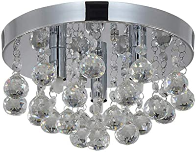 16.5 inch 4 Light Crystal Chandelier Ceiling Light with Beaded Round Drum Metal Shade, Antique Chrome Finish Pendant Lighting, Hanging Lamp for