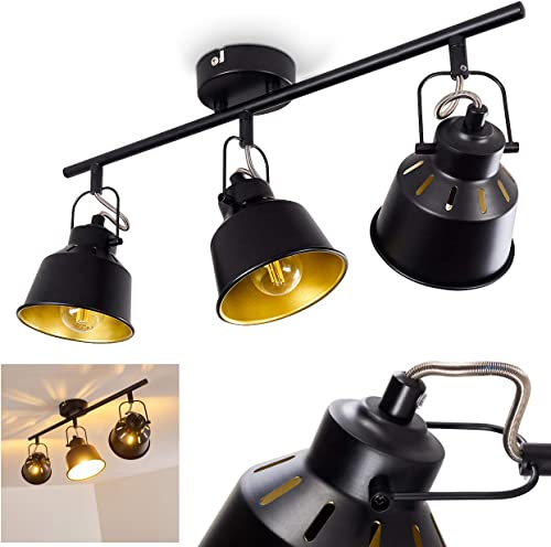Plafonnier Safari en métal noir et or, 3 spots de plafond pivotants pour ampoules E14 max, 40 Watt, compatible ampoul...
